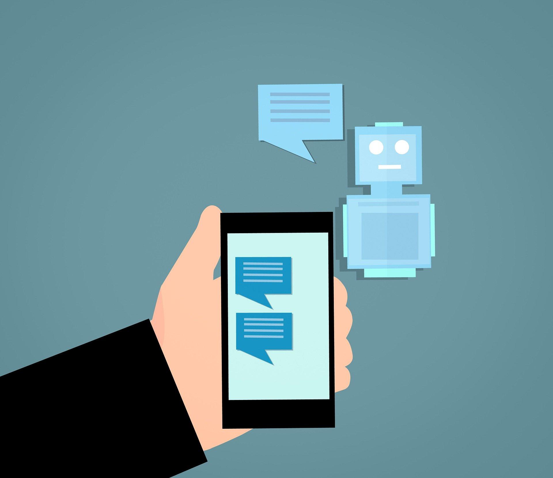 Tecknad chatbot och smarttelefon visar en dialog