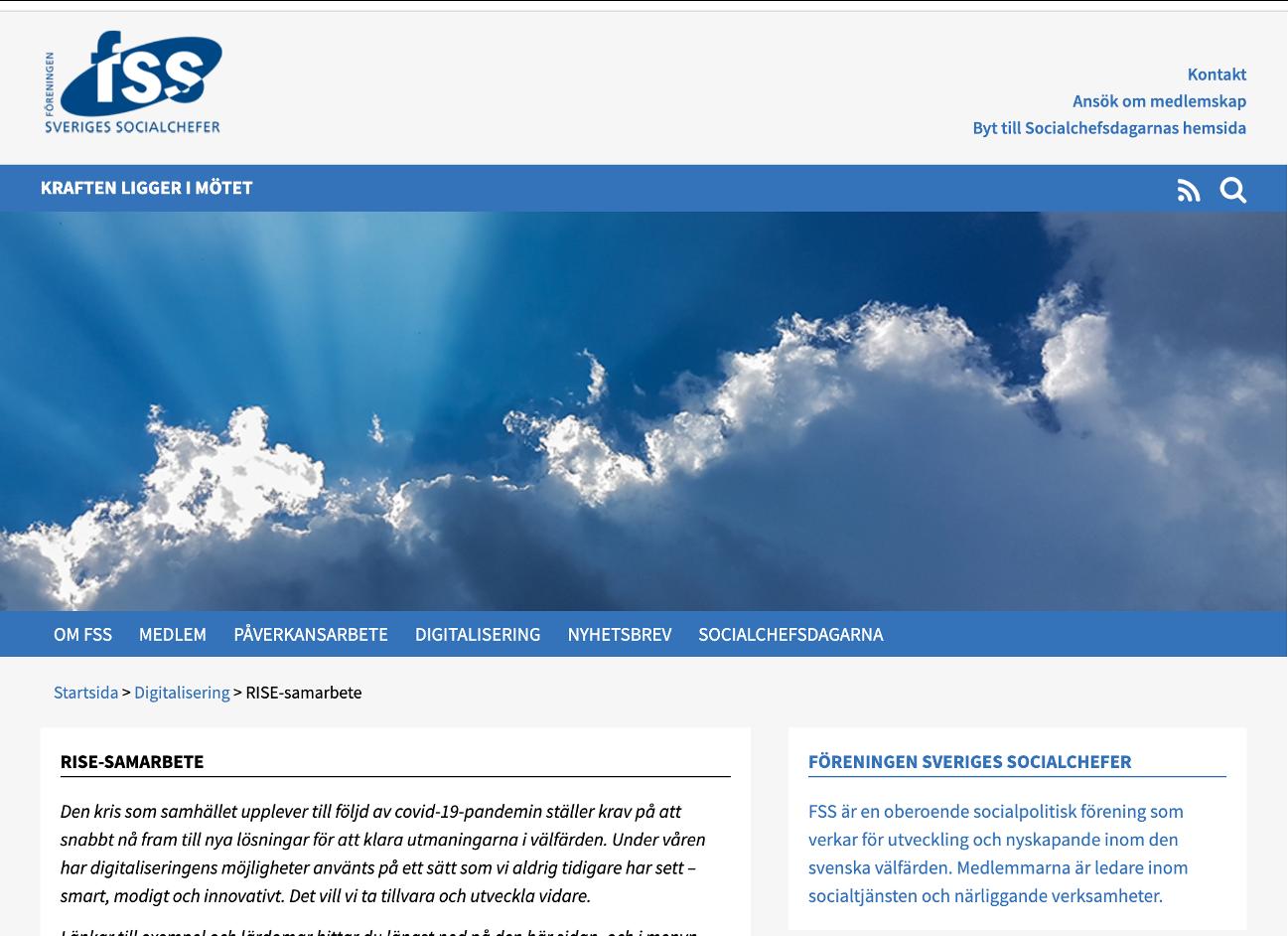 Föreningen Sveriges Socialchefer webbsida
