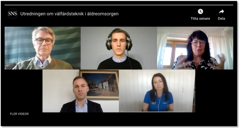 Samtals deltagarna i video samtal om Vad utredningen om välfärdsteknik i äldreomsorgen kom fram till