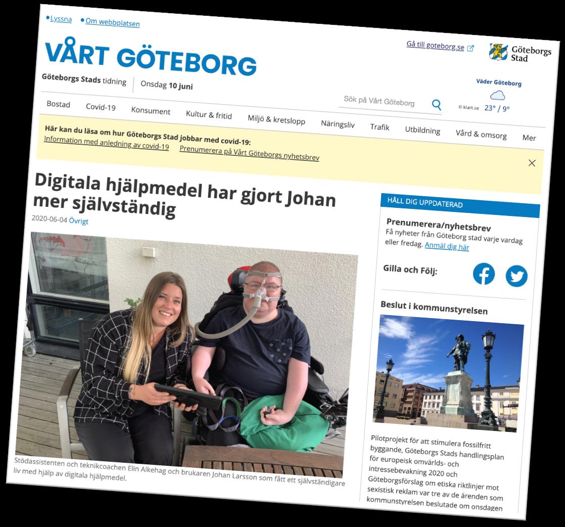 Skärmdump Vårt Göteborg .Johan mer självständig med stöd av välfärdsteknik