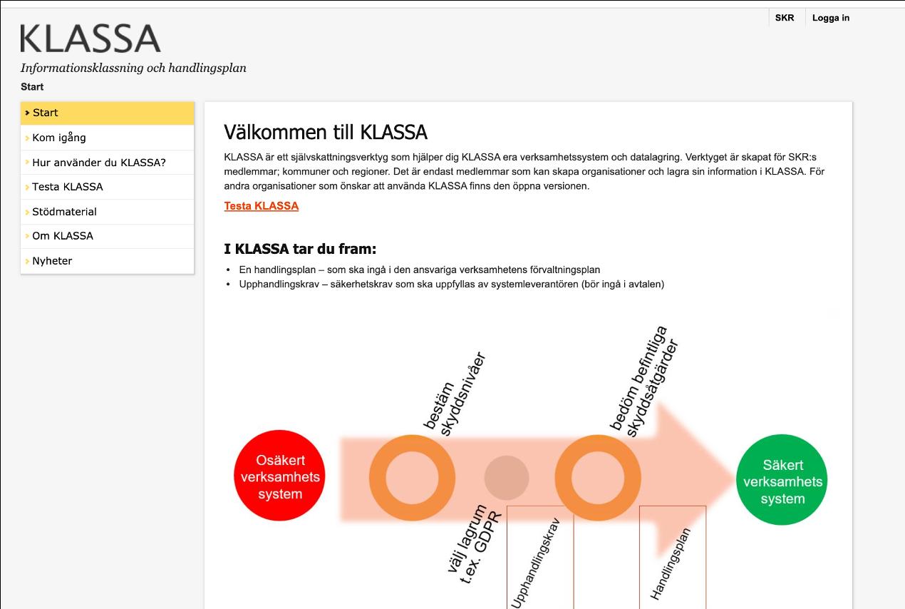 Skärmdump av KLASSAs webb