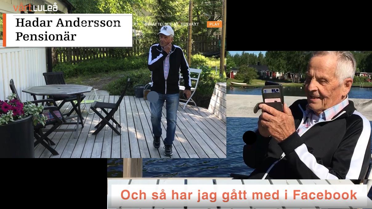 Hadar Andersson promenerar på altan och facebookar på sin telefon