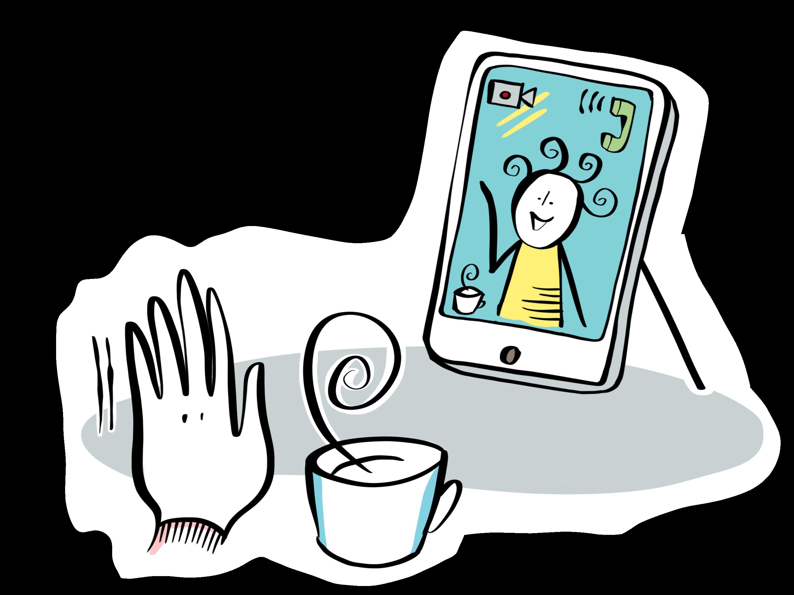 Tecknad hand som vinkar i ett videosamtal