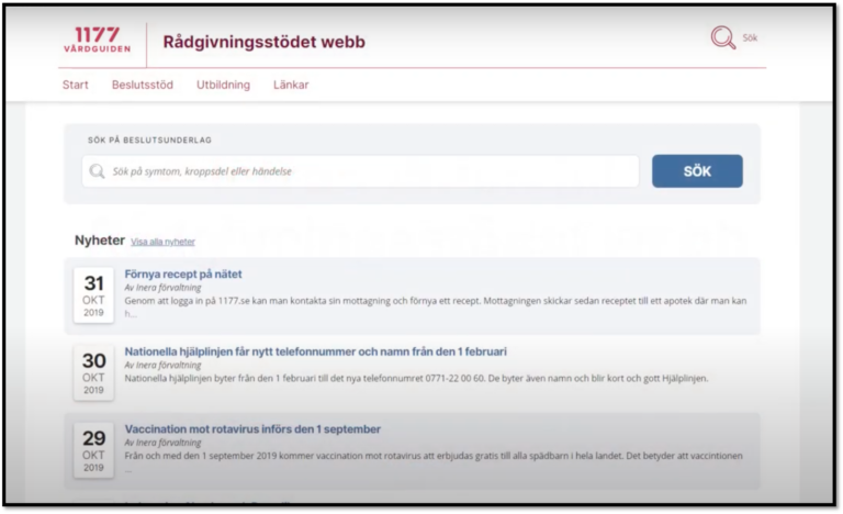 Skärmdump av rådgivningsstödets webbplats