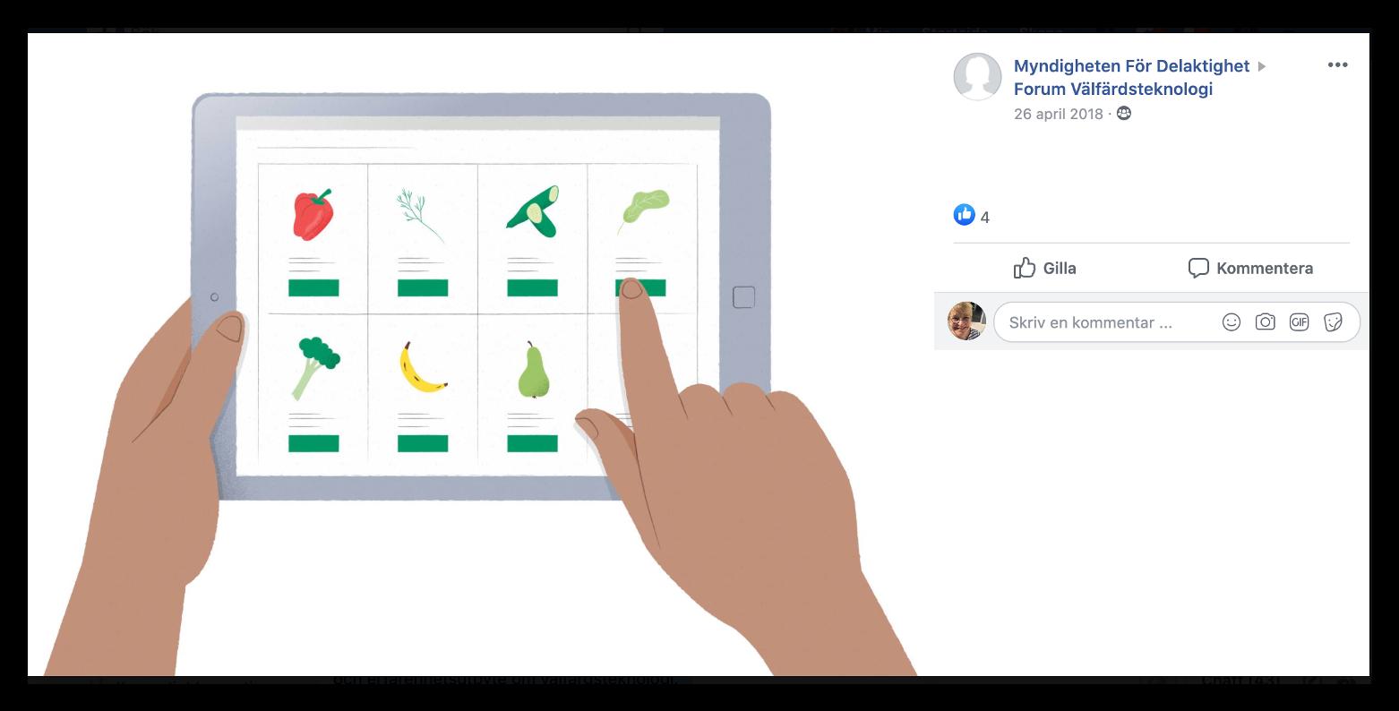 Facebookgruppens bild en hand som pekar på en symbol i surfplattan