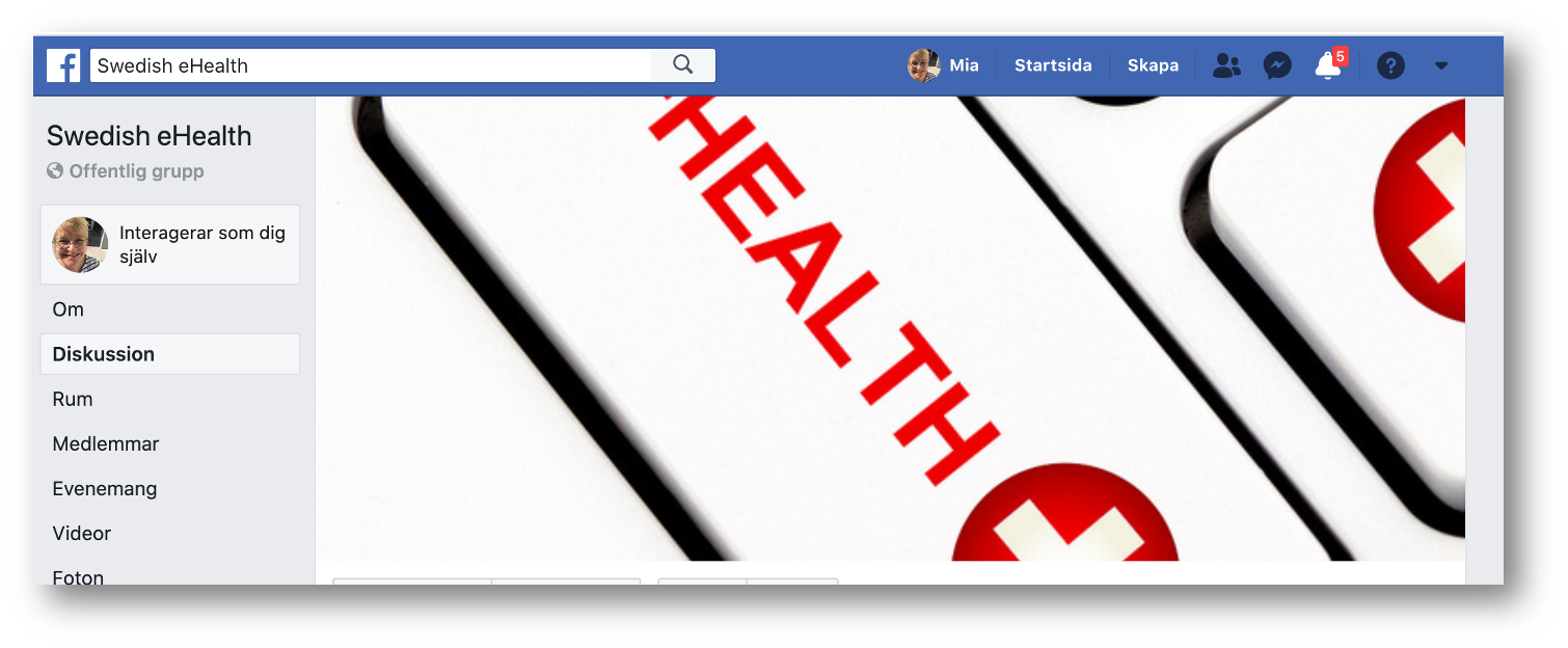 Skärmdump av Swedish e-healths facebookgrupp