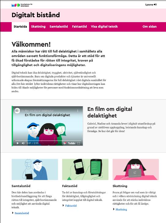 Skärmdump av webbplatsen digitalt bistånd