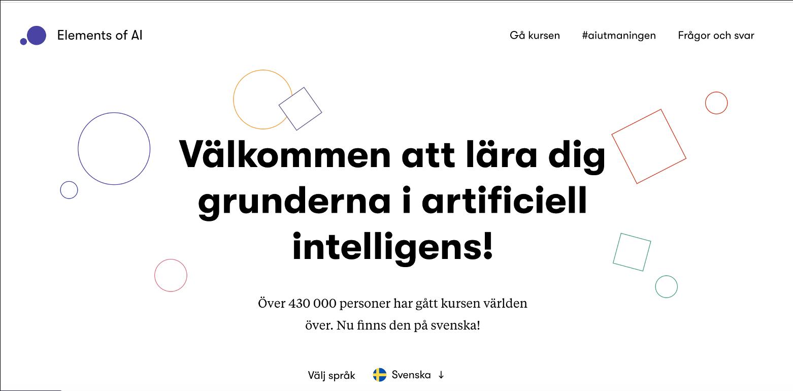 skärmdump av webbplatsen Elements of AIen