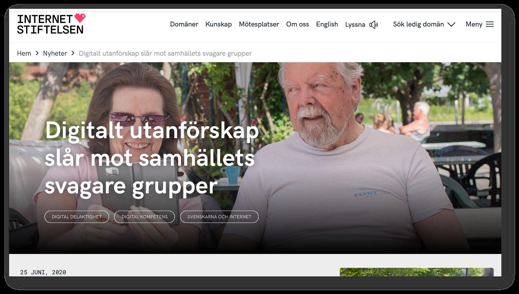 Skärmdump från Internetstiftelsens webbartikel om rapporten