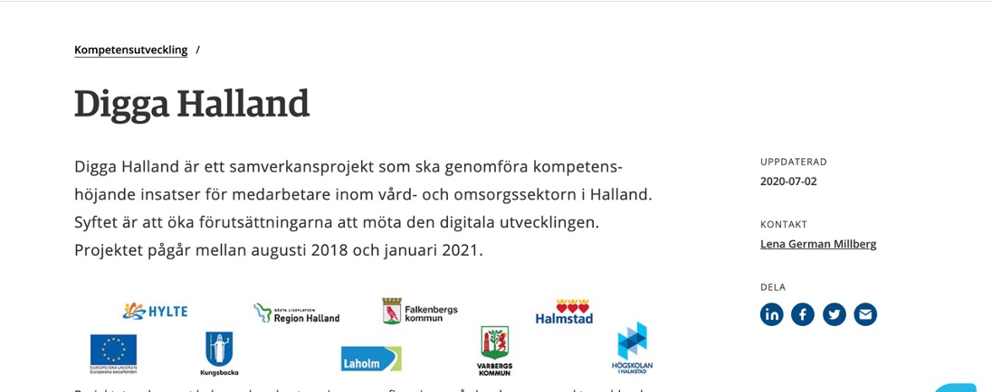 Skärmdump som visar de 8 samverkansparterna i Digga Halland