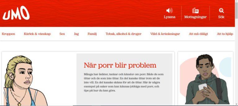 skärmdump från UMO webbens första sida