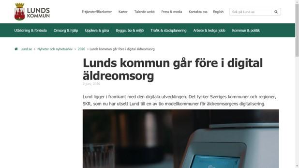 Skärmdump från Lund kommuns webb