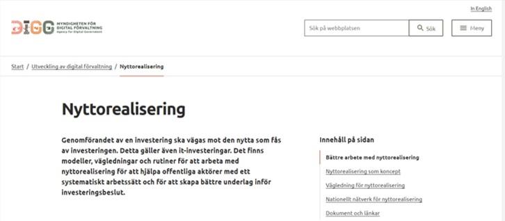 skärmdump från DIGGs webbsida om nyttorealisering