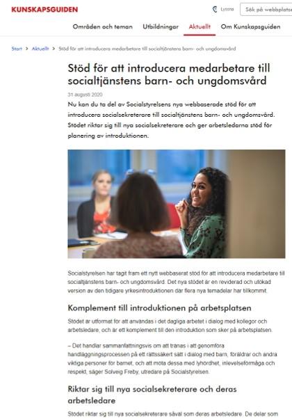 skärmdump av Kunskapsguidens webb som beskriver Stöd för att introducera medarbetare till socialtjänstens barn- och ungdomsvård