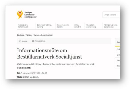 Skärmdump av SKRswebb sida för anmälan till informationsmöte om beställarnätverk socialtjänst den 5 oktober