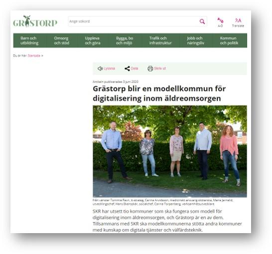 Skärmdump från Grästtorps webb. Grästorp blir en modellkommun för digitalisering inom äldreomsorgen