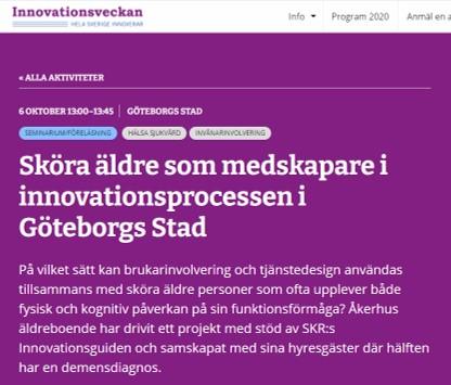 Seminarium under innovationsveckan Sköra äldre som medskapare i innovationsprocessen i Göteborgs Stad