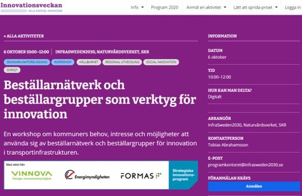 Seminarium under innovationsveckan Beställarnätverk och beställargrupper som verktyg för innovation