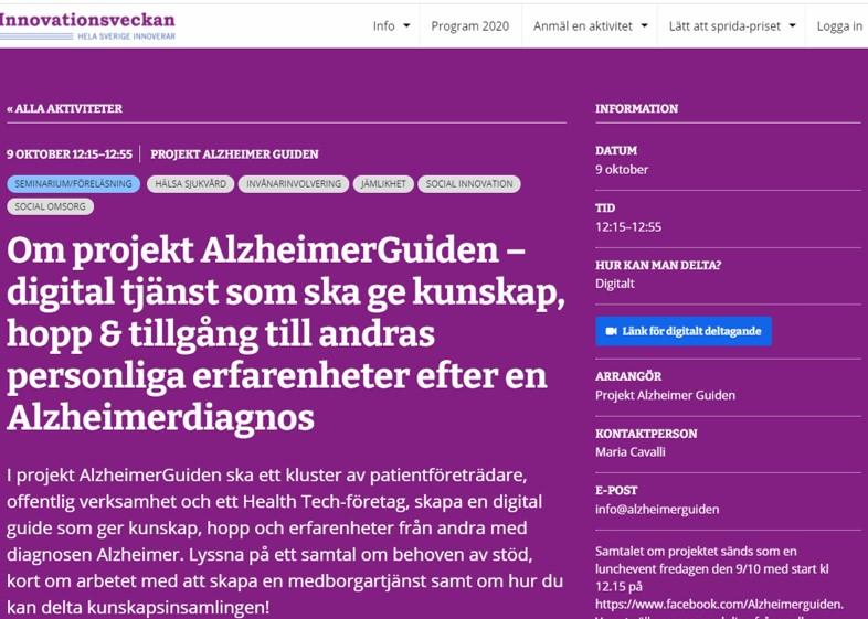 Om projekt AlzheimerGuiden 9 oktober kl 12.15