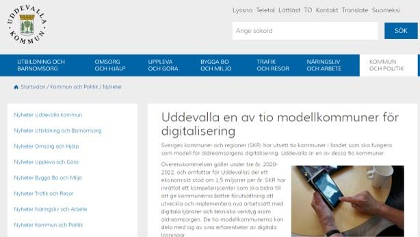 Skärmdump från Uddevallakommuns webb presenterar nyheten att de är en av tio modellkommuner