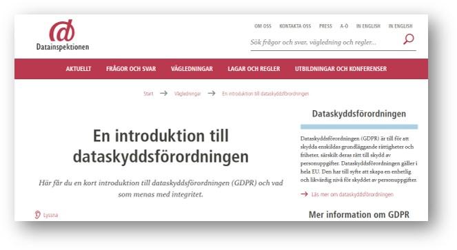 skärmdump från datainspektionenswebb En introduktion till dataskyddsförordningen