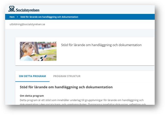 skärmdump av socialstyrelsens webb Stöd för lärande om handläggning och dokumentation