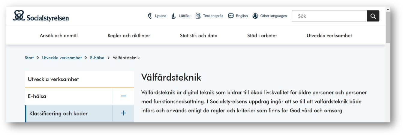 Skärmdump från Socialstyelsens webbsida om välfärdsteknik