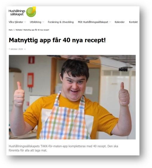 skärmdump från Hushållningssällskapets webb. Matnyttig app får 40 nya recept