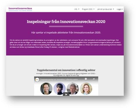 Skärmdum av Innovationsveckans webb där de samladse inspelningarna samlas