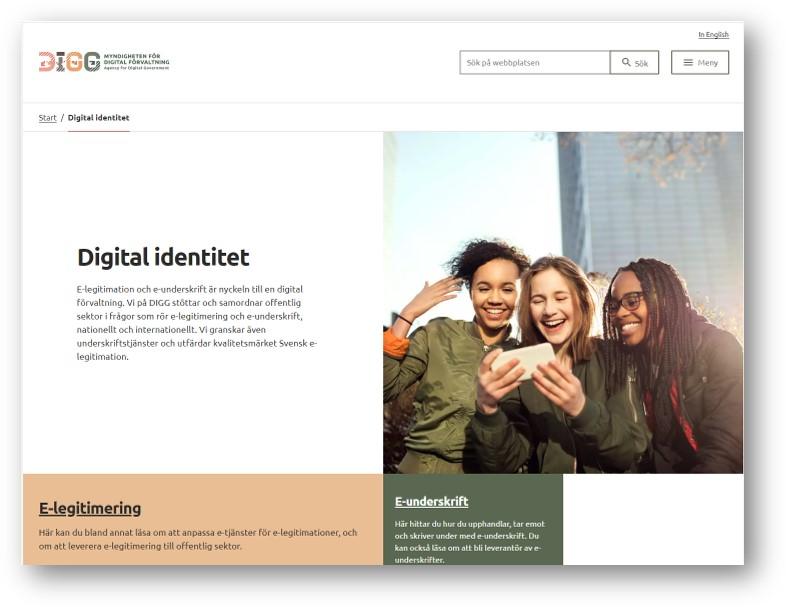 Skärmdump från DIGGs webb om Digital identitet, e-legitimation och e-underskrift