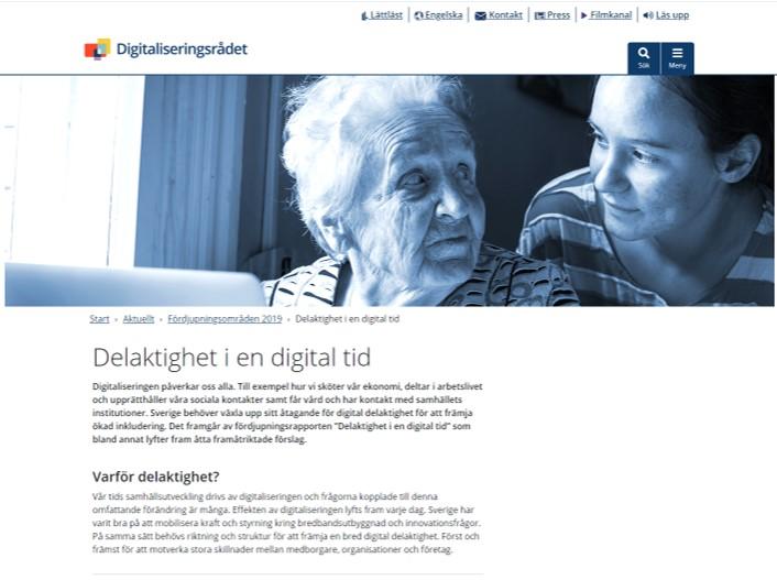 Skärmdump från digitaliseringsrådets webb. Delaktighet i en digital tid