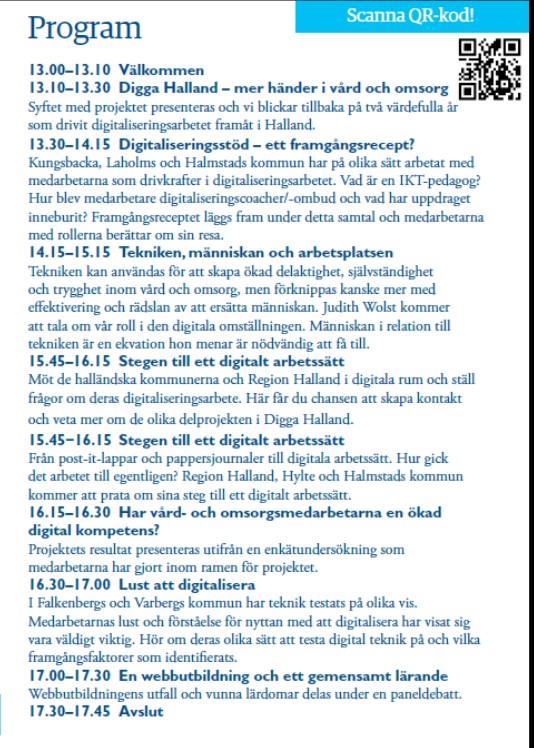 Program med QR kod för konferensen Dela Digga Halland