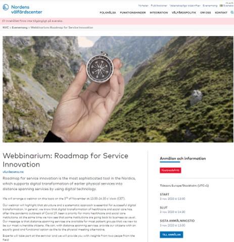 Skärmdump från NWCs webb Webinarium Roadmap for service innovation Kompass som visar vägen.