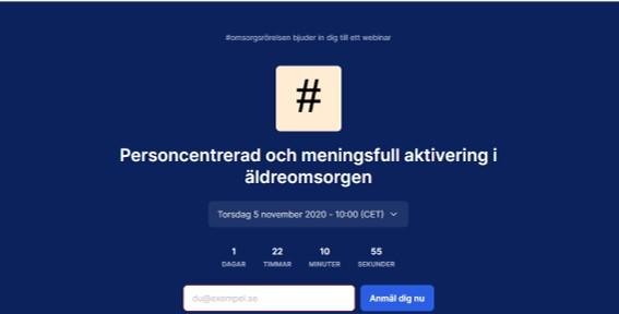 Skärmdump från #omsorgsrörelsens webb anmälan till webbinariet