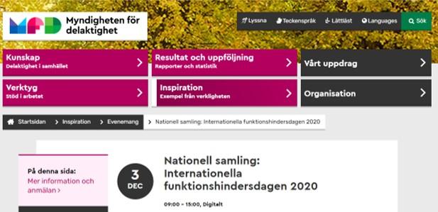 Skärm dump från Myndigheten för delaktightéts webb. Nationell samling Internationella funktionshindersdagen