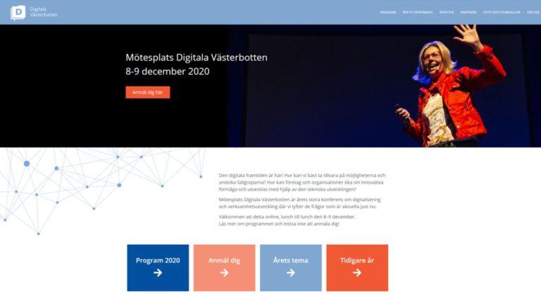 Skärmdump från webben Mötesplats Digitala Västerbotten