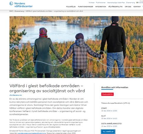 Skärmdump från Nordens välfärdscenter Välfärd i glest befolkade områden – organisering av socialtjänst och vård