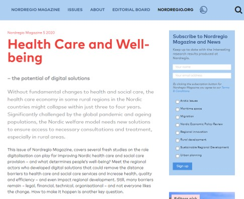 Health Care and Well-being Nordregio Magazine