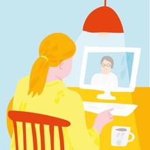 Tecknat, kvinna som sitter vid ett bord framför en dator