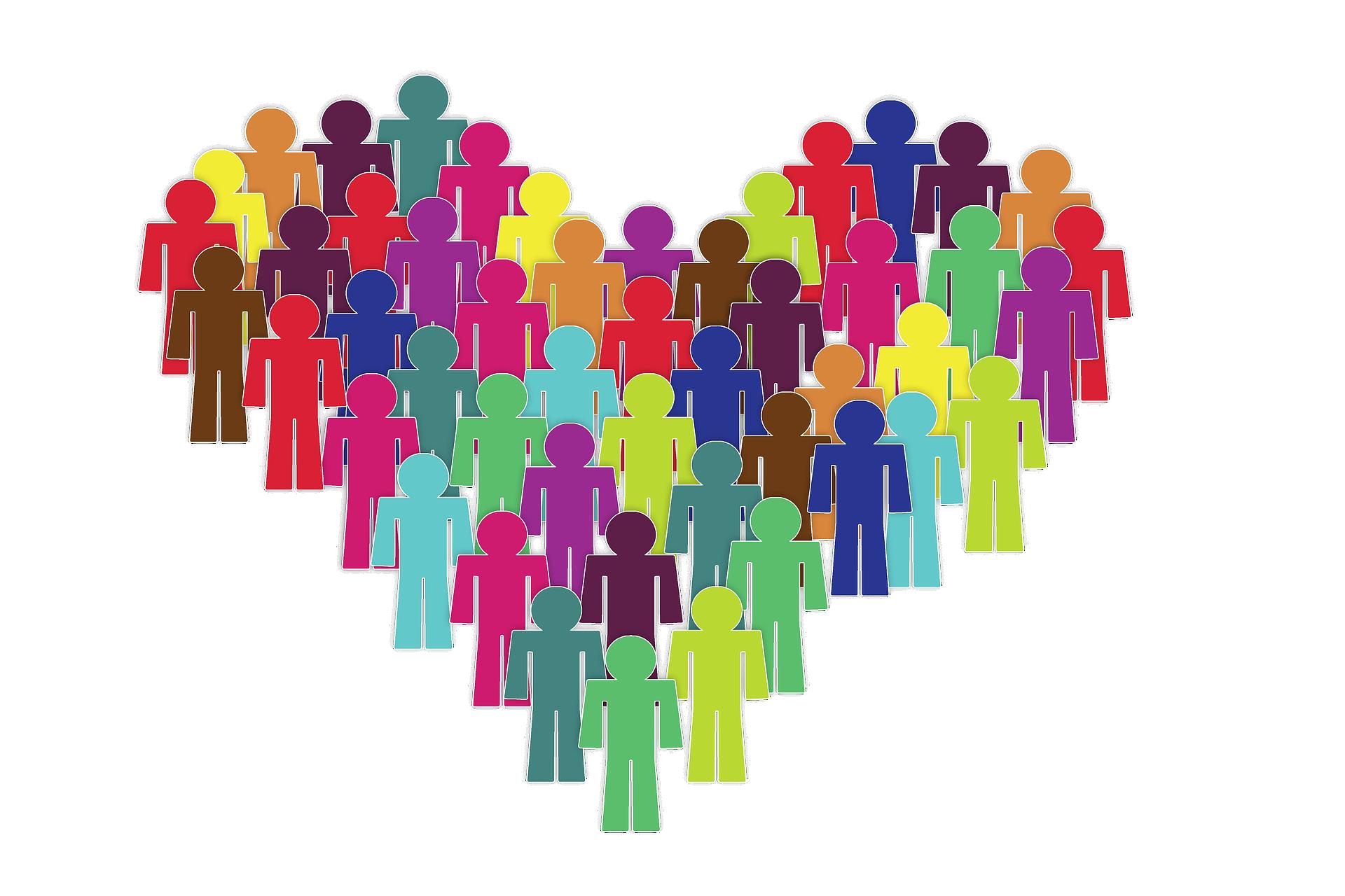 Illustration av personer med olika färg placerade som ett hjärta