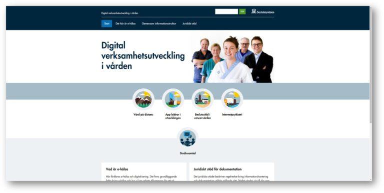 Skärmdump från socialstyrelsens webb. Digital verksamhetsutveckling i vården