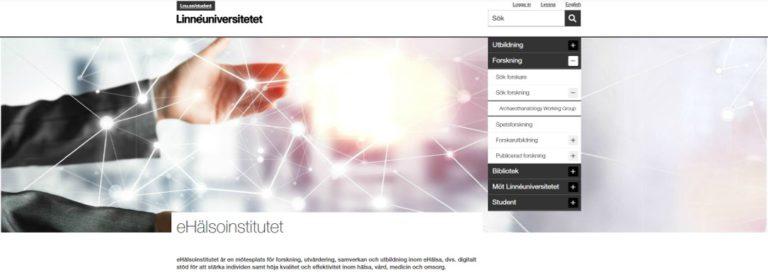 Skärmdump från webben hos eHälsoinstitutet på Linneuniversitetet