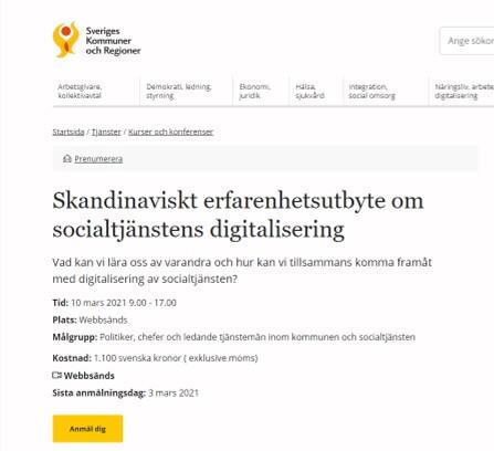 Skandinaviskt erfarenhetsutbyte om socialtjänstens digitalisering