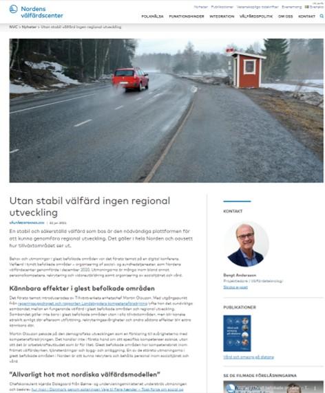 Nordens välfärdscenter Utan stabil välfärd ingen regional utveckling