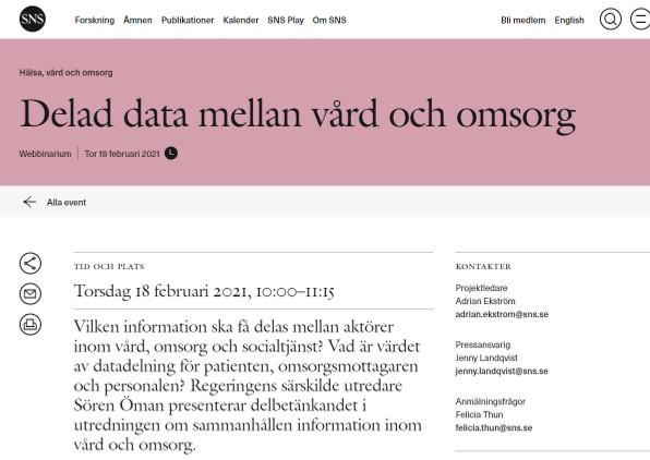 Delad data mellan vård och omsorg SNS webbinarium