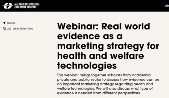 Webinar: Real world evidence as a marketing strategy for health and welfare technologies