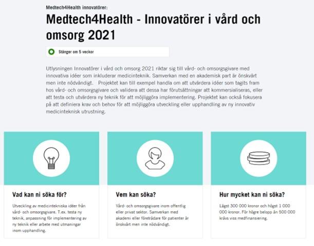 Medtech4Health - Innovatörer i vård och omsorg 2021