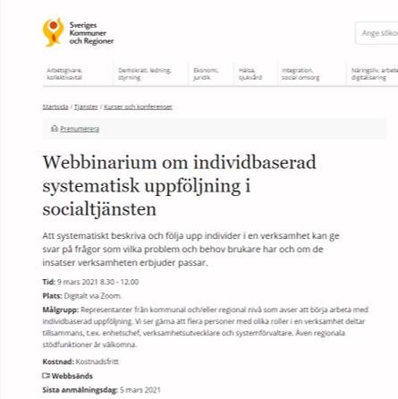 Webbinarium om individbaserad systematisk uppföljning i socialtjänsten 9 mars klockan 8.30 - 12.00