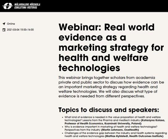 Webinar: Real world evidence as a marketing strategy for health and welfare technologies