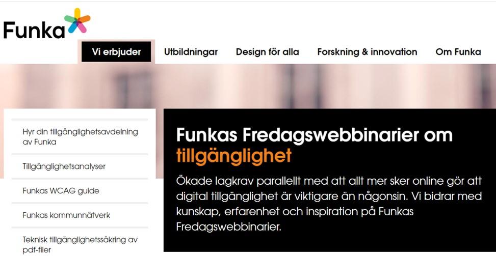 Funkas Fredagswebbinarier om tillgänglighet